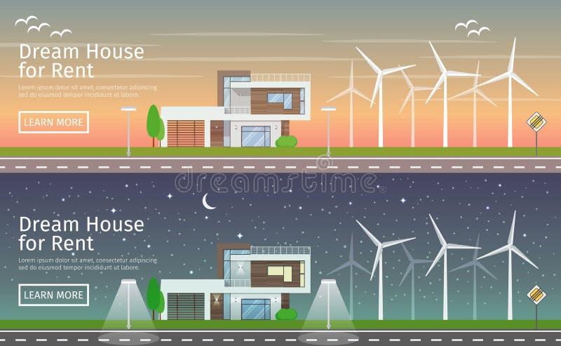 Modern Houses with alternative Eco Green Energy stock illustration