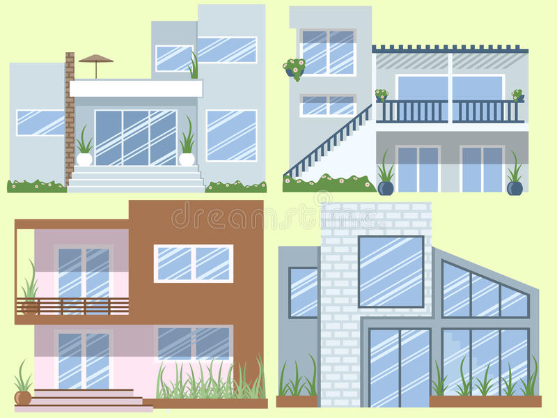 Modern houses collection royalty free illustration