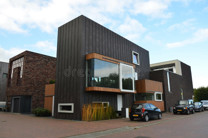 Modern houses in Groningen, Holland stock photography