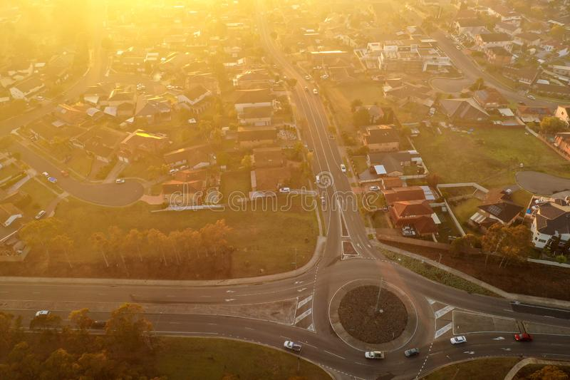 Modern houses and home in a suburban area. High aerial view of a residential area. royalty free stock image