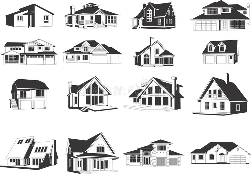 Modern houses icons royalty free illustration
