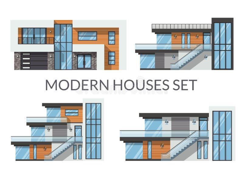 Modern houses set, real estate signs in flat style. Vector illustration stock illustration