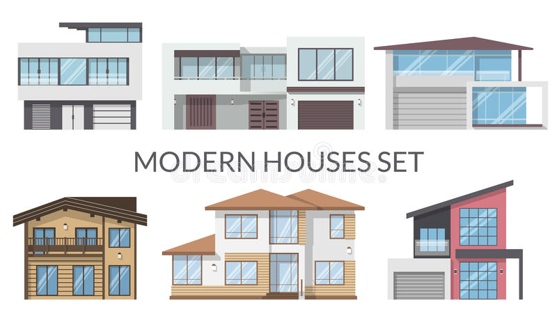 Modern houses set, real estate signs in flat style. Vector illustration. royalty free illustration