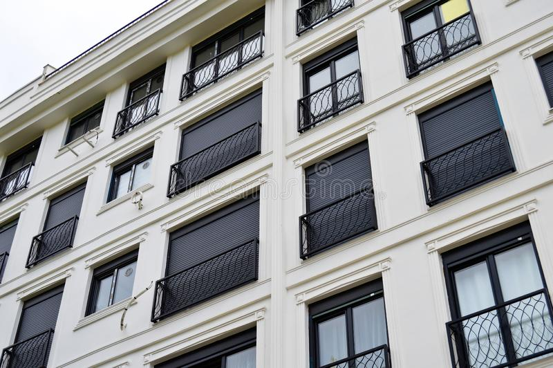 Modern housing apartments and details. Facade, center. Modern housing apartments details and facade, center, Istanbul Turkey stock images