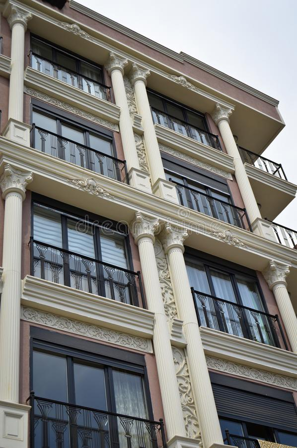 Modern housing apartments and details. Facade, center. Modern housing apartments details and facade, center, Istanbul Turkey stock photo