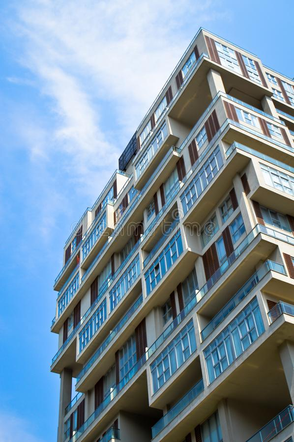 Modern housing apartments and details. Modern housing apartments details and blue sky, Istanbul Turkey stock image