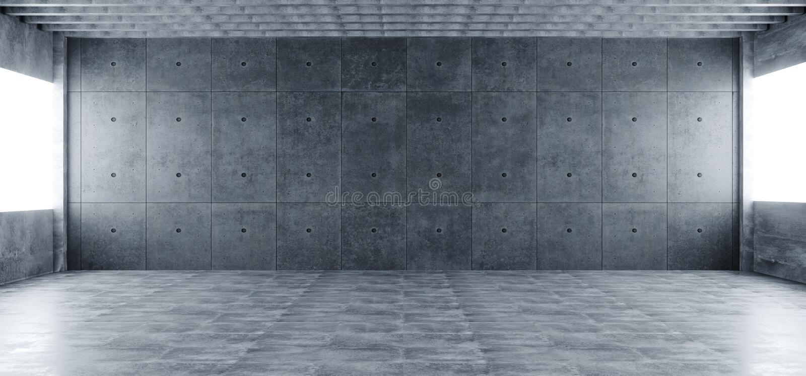 Modern Huge Concrete Material Empty Hall With Many Columns And B stock illustration
