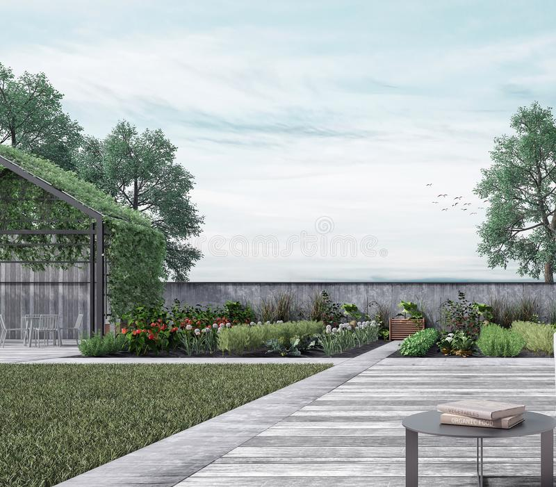 Modern huis buiten met organische moestuin stock afbeeldingen