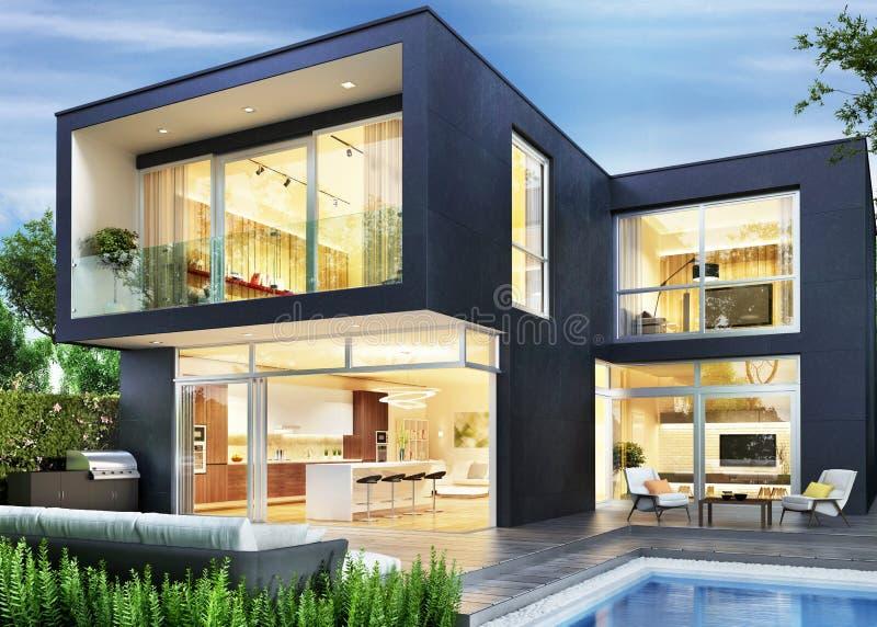 Modern huis De mening van de avond Binnenland en buitenkant stock foto