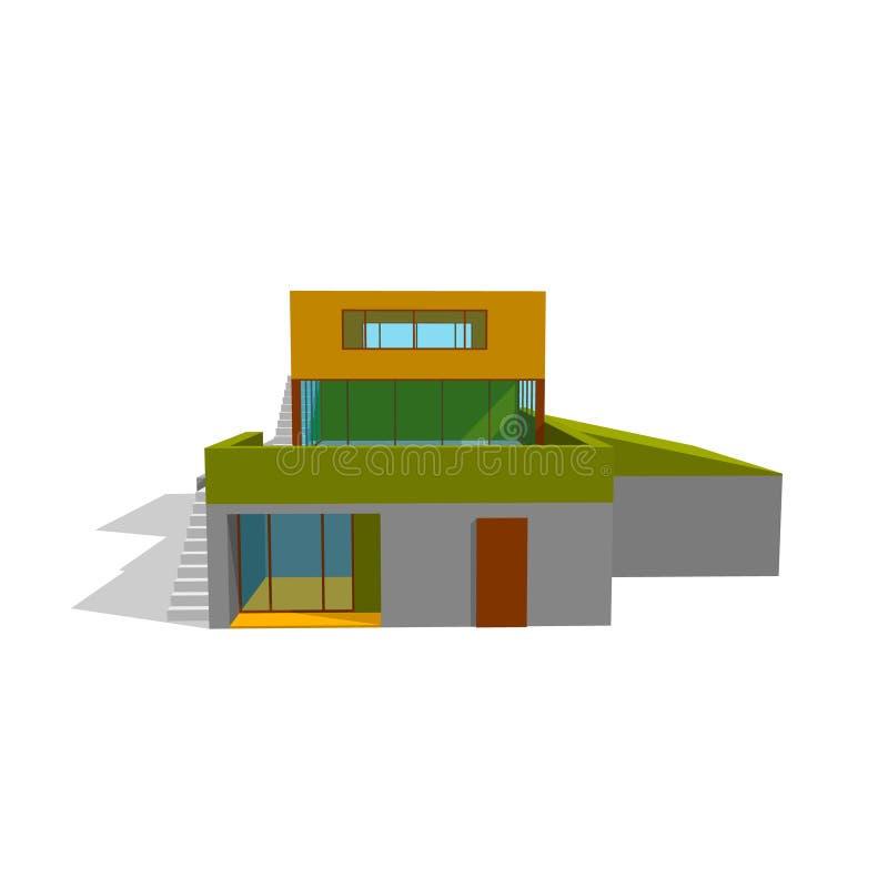 Modern huis Geïsoleerd op wit 3d vectorillustratie Voorzijde vi stock illustratie