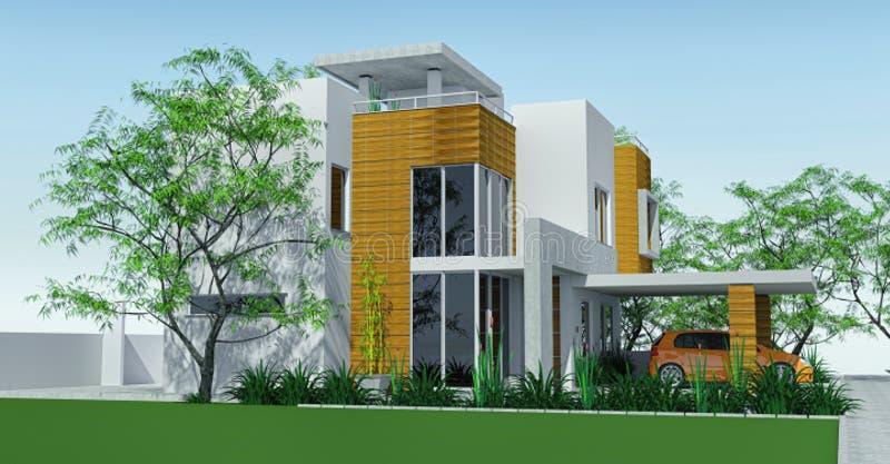 Modern huis met carportgazon met minituin het 3d teruggeven royalty-vrije illustratie