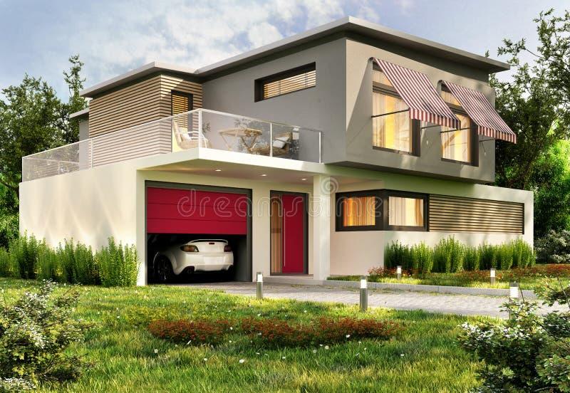 Modern huis met garage en auto stock afbeelding