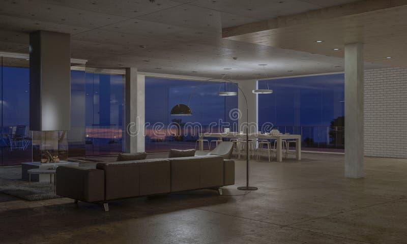 Modern huis met grote vensters royalty-vrije illustratie