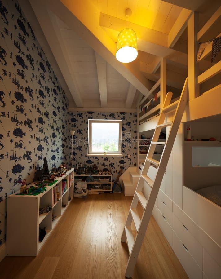 Modern huis, moderne slaapkamer stock fotografie