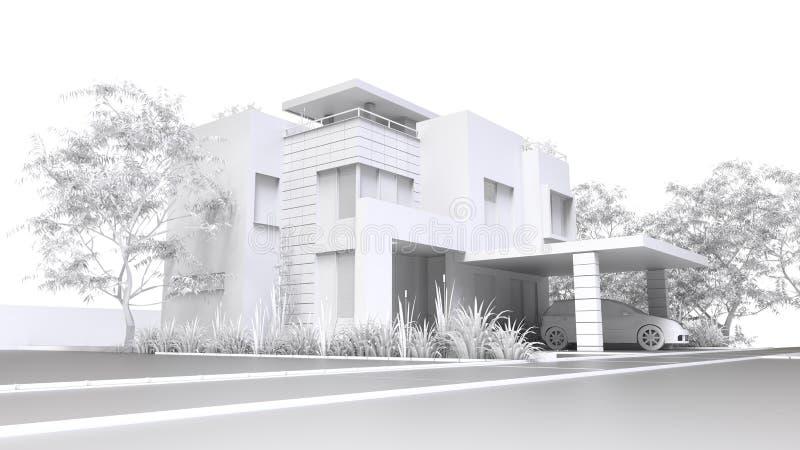 Modern huis Zwart-wit 3D illustratie van witte plastic huis en tuin met garage het 3d teruggeven stock illustratie