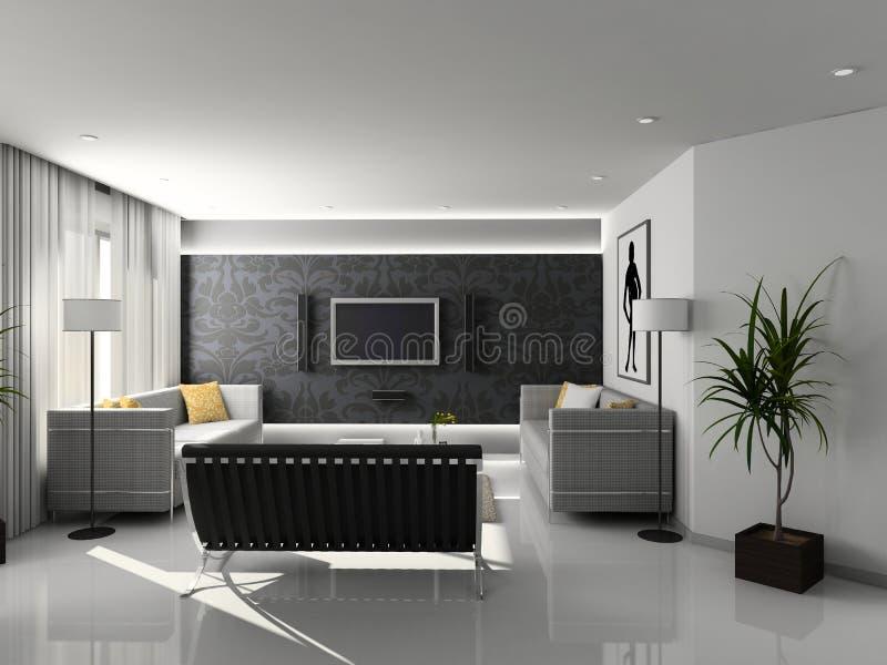 Modern huisbinnenland. stock illustratie