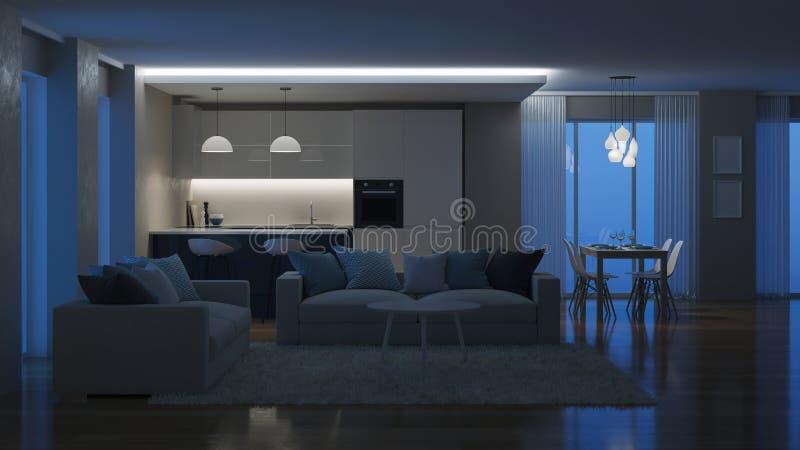 Modern huisbinnenland Avondverlichting nacht stock afbeelding