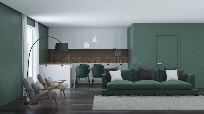Modern huisbinnenland Groene kleur in het binnenland royalty-vrije stock foto's
