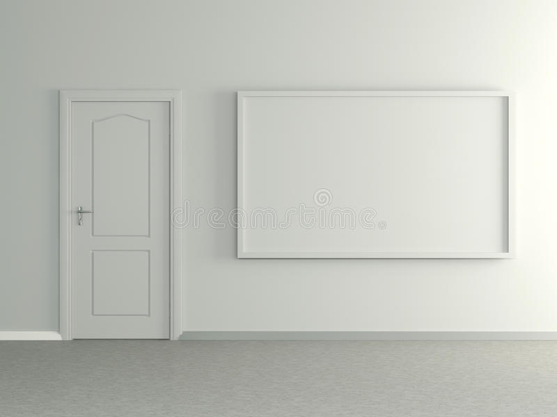 Modern huisbinnenland met beeld en deur. 3D. stock illustratie