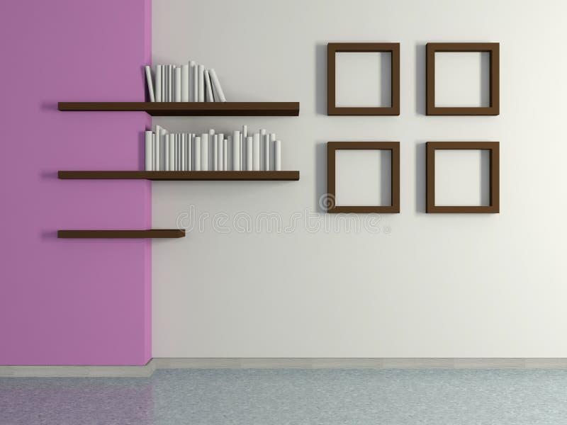 Modern huisbinnenland met vier schilderijen en boekenplanken d