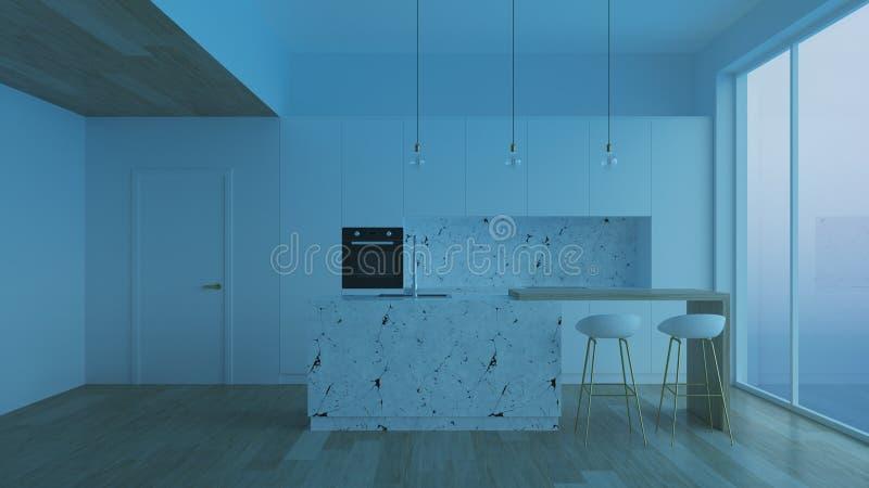 Modern huisbinnenland nacht Avondverlichting Binnenland met witte muren en witte keuken royalty-vrije stock afbeelding