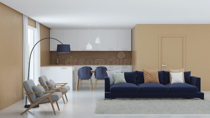 Modern huisbinnenland Warme kleur in het binnenland royalty-vrije stock foto's