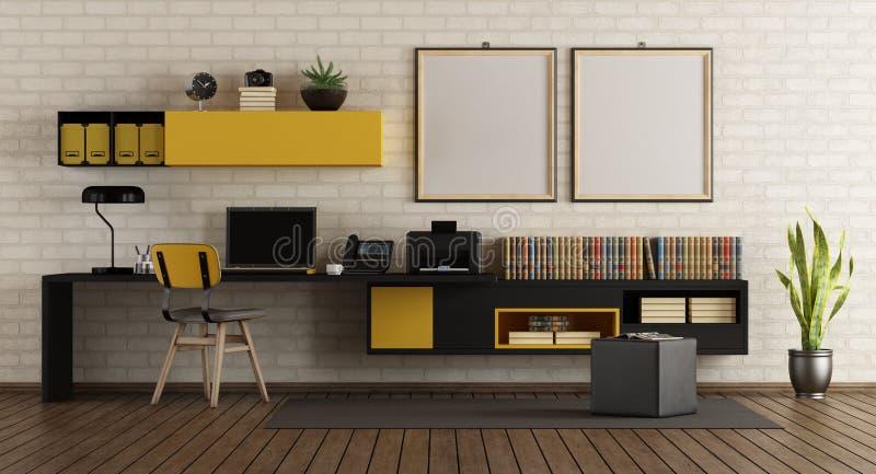 Modern huisbureau met zwart en geel meubilair stock illustratie
