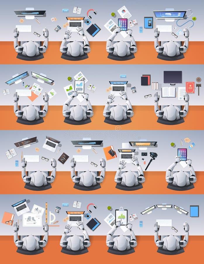Modern humanoid robotgrupp som sitter på skrivbord i tecken för begrepp för konstgjord intelligens för klassrumskola robotic royaltyfri illustrationer