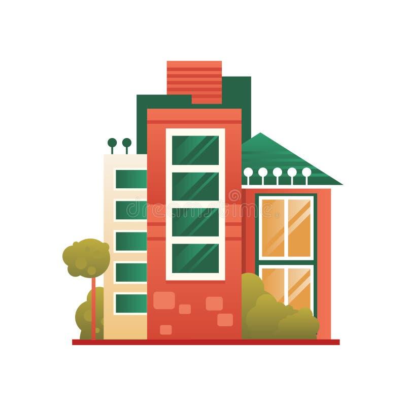 Modern husbyggnad, fastighet, vektorillustration för främre sikt på en vit bakgrund stock illustrationer