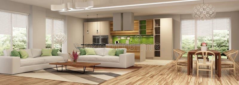 Modern husinre av vardagsrum och ett kök i beigea och gröna färger royaltyfria bilder