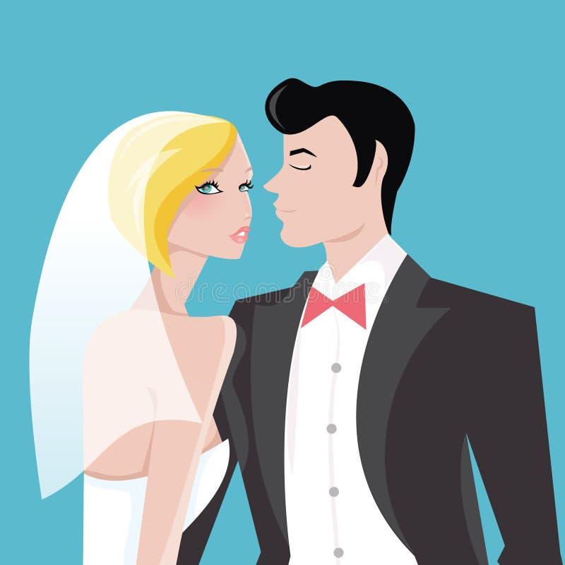 Modern huwelijkspaar royalty-vrije illustratie