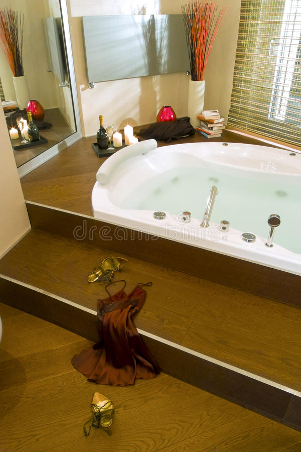 Modern Hydro Massage Bathtub Deep-set Stock Photo - Image of book ...