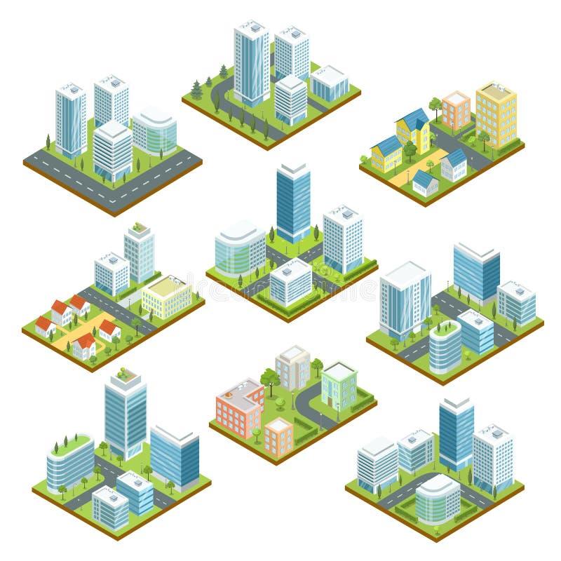 Modern i stadens centrum isometrisk uppsättning 3D vektor illustrationer