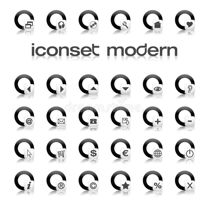modern iconset royaltyfri illustrationer