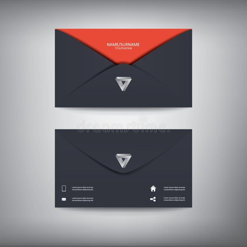 Modern idérik mall för affärskort i kuvert vektor illustrationer
