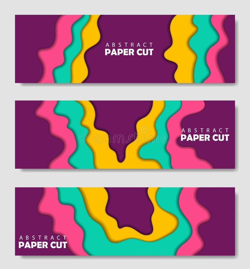 Modern idérik uppsättning av affischer med en abstrakt bakgrund 3d och papperssnittformer Vektordesignorientering, minsta mall royaltyfri illustrationer