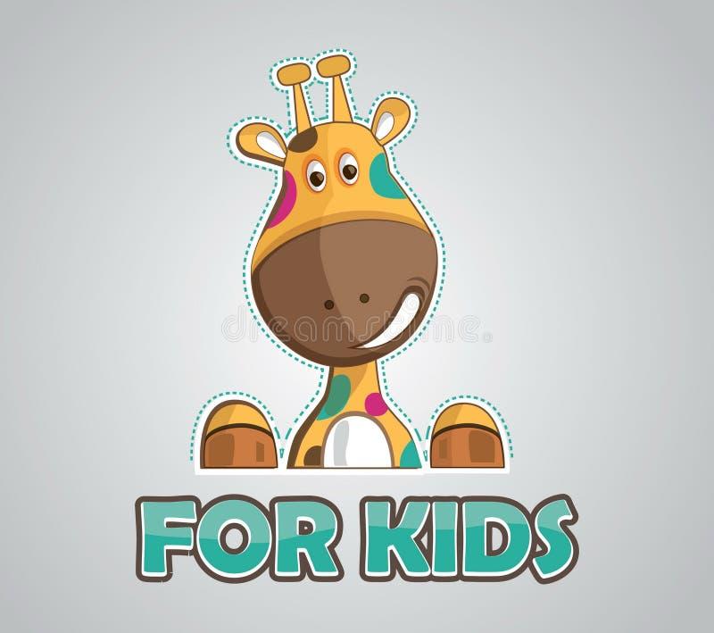 Modern illustration of giraffe for kids. Modern design of happy and colorful giraffe for kids logo or birthday card etc vector illustration