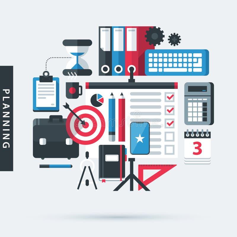 Modern illustration om planläggning i plan designstil Uppsättning av slumpmässiga kontorshjälpmedel vektor illustrationer