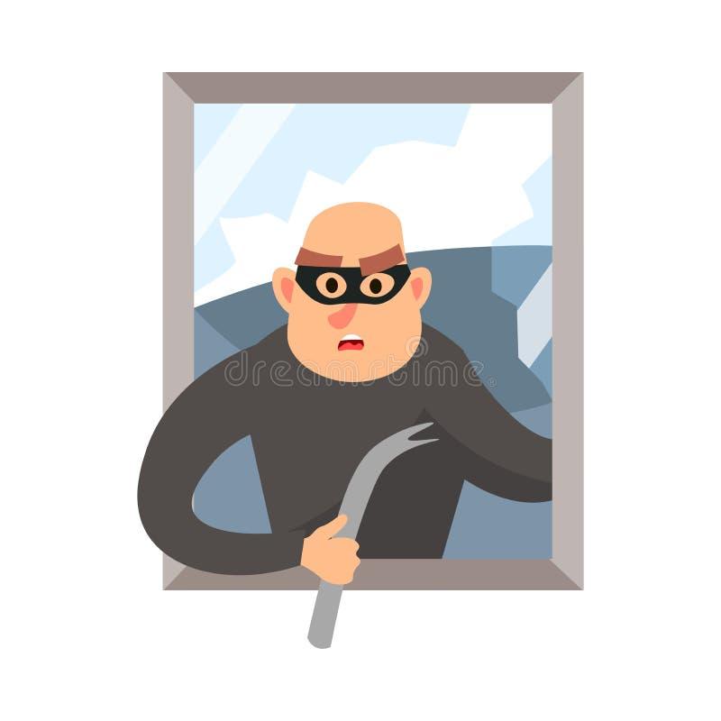 Modern inbrottstjuv med den brutna svarta maskeringen husfönstret vektor illustrationer