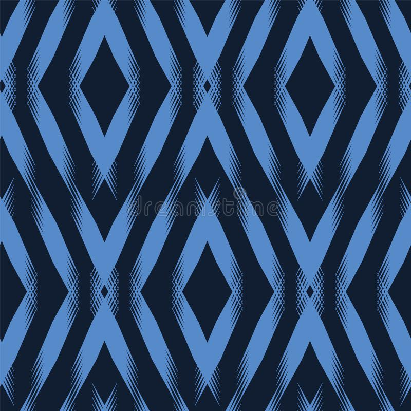 Modern indigo blue geometric hand drawn chevron diamond. Repeating abstract background. Ornamental monochrome geo. Trendy surface. Indigo blue geometric hand royalty free illustration
