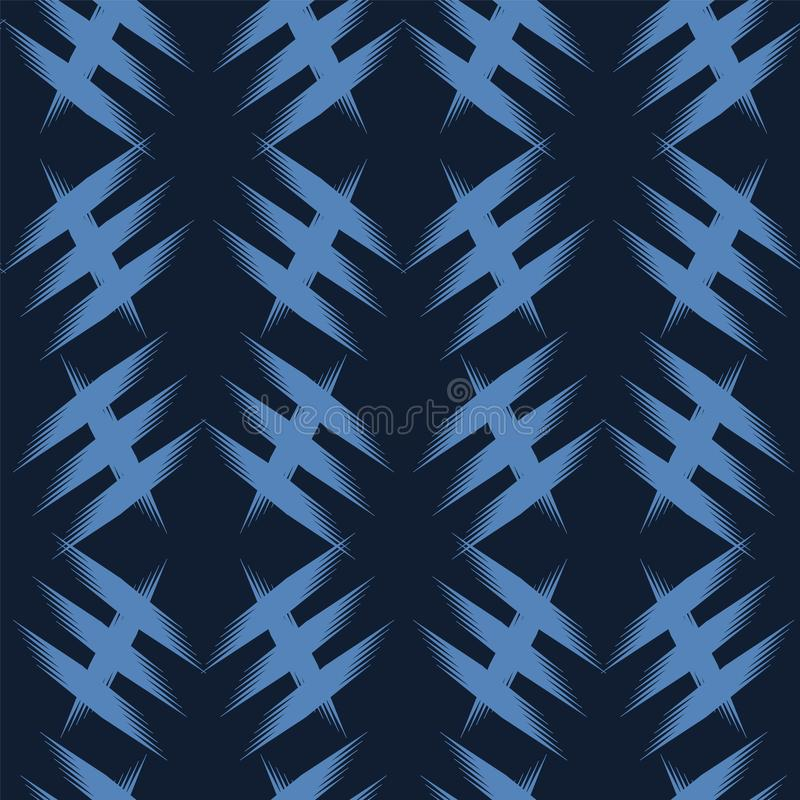 Modern indigo blue geometric hand drawn criss cross. Repeating abstract background. Ornamental monochrome geo. Trendy surface vector illustration