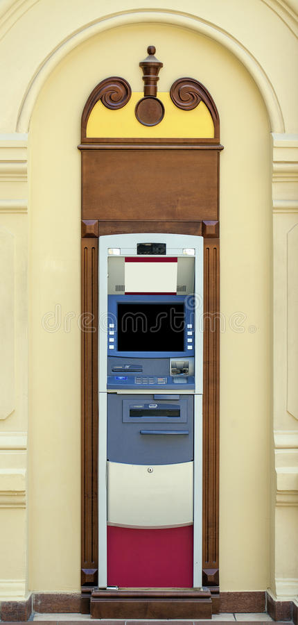 Modern indoor automatic teller machine at a bank. Without people Modern indoor automatic teller machine at a bank, indoor royalty free stock photo