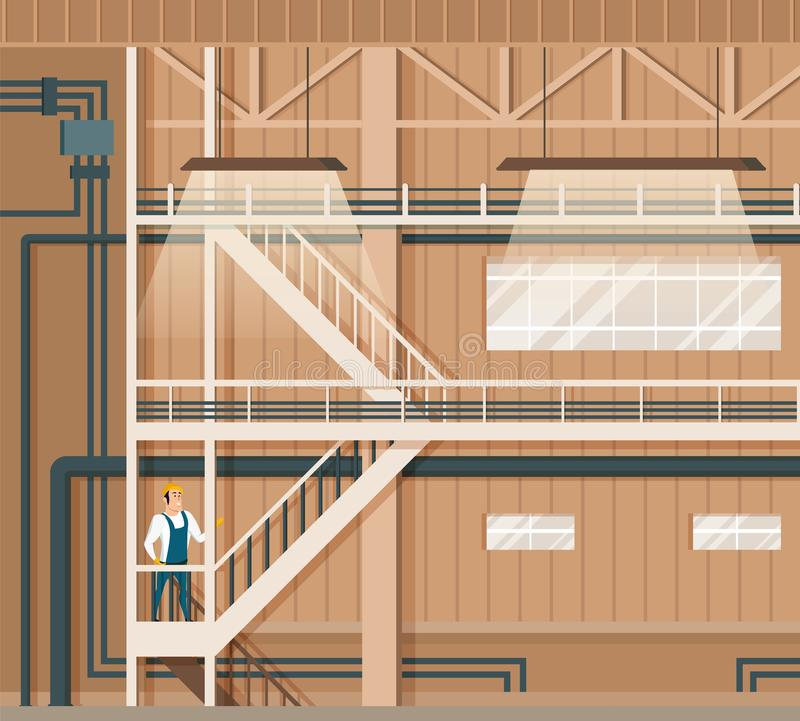 Modern Indoor Smart Storage or Warehouse Design. Automatic Industry Store Interior. Smiling Worker in Overall Uniform and Hard Hat Standing on Stairs. Flat royalty free illustration