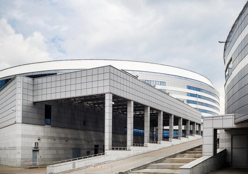 Modern industrial architecture. MINSK, BELARUS - MAY 03, 2016: Minsk-Arena - a sports and entertainment complex in the city of Minsk, Belarus. Close-up of modern royalty free stock photos