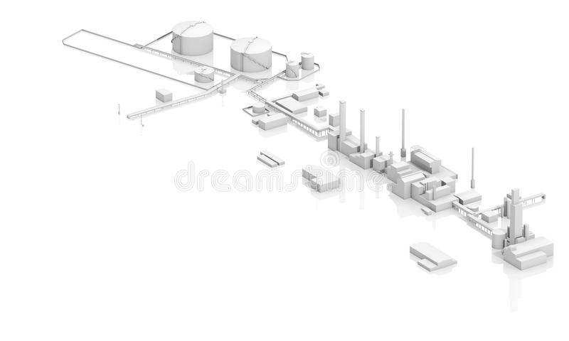Modern industrial facility with tanks. Chimneys and buildings, 3d model on white background, bird eye view vector illustration