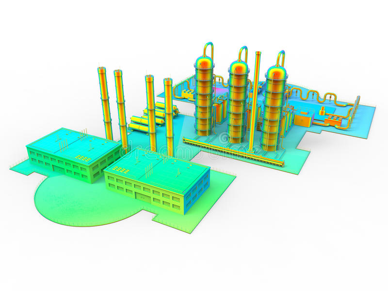 Modern industrial factory plant stock illustration