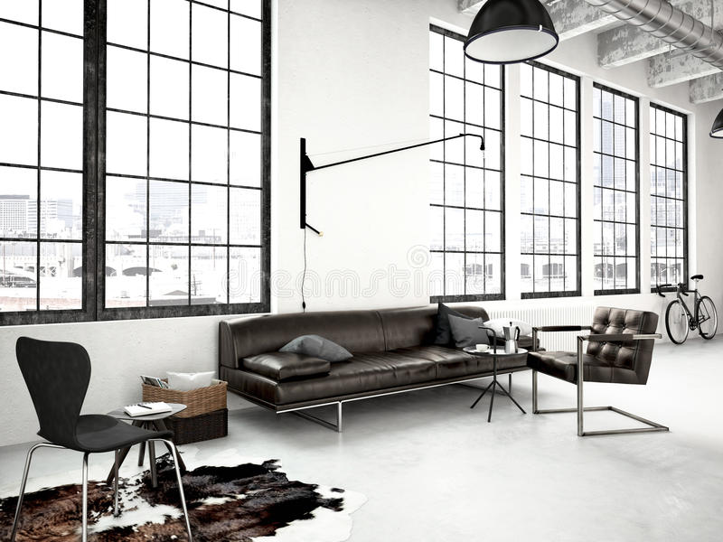 Modern industrial loft. 3d rendering vector illustration