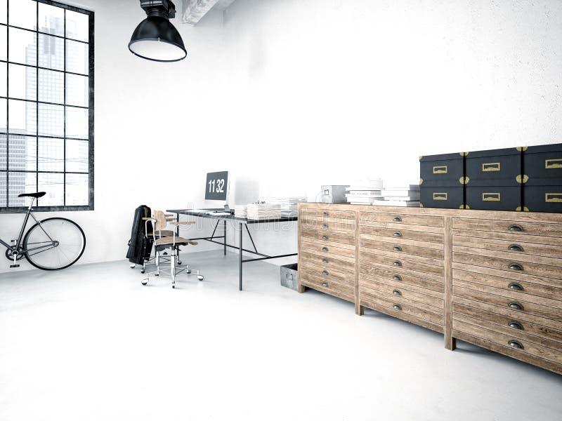 Modern industrial loft. 3d rendering stock illustration
