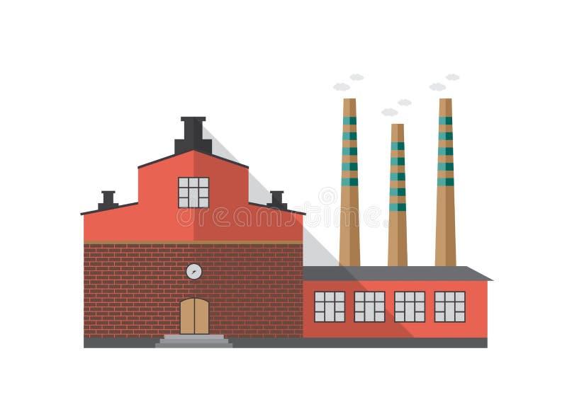 Modern industriell tegelstenbyggnad av fabriken med rör som sänder ut rök som isoleras på vit bakgrund främre sikt stock illustrationer