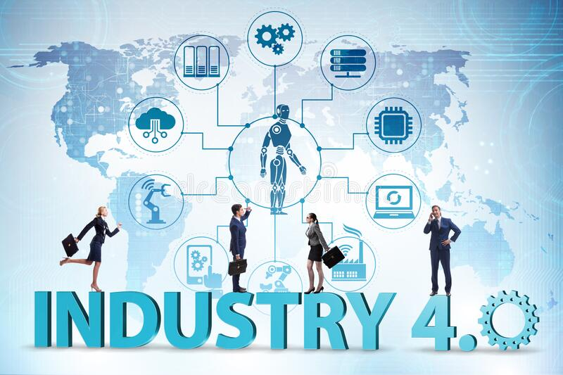 Modern industry 4.0 technical automation concept. The modern industry 4.0 technical automation concept stock photos
